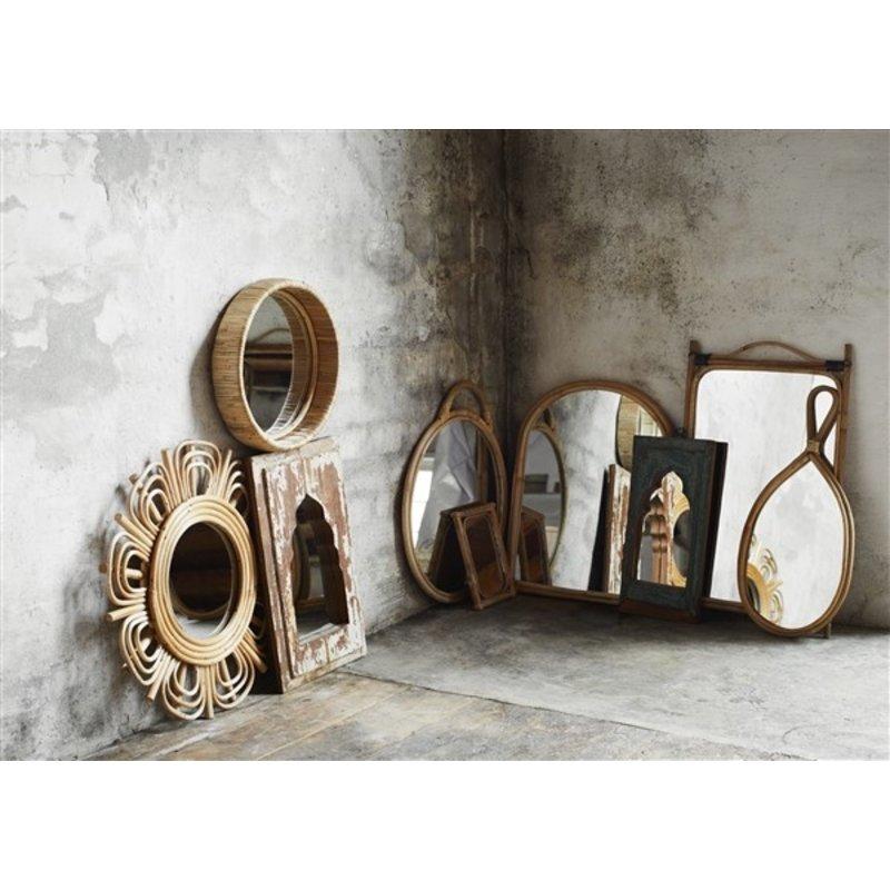 Madam Stoltz-collectie Round mirror w/ bamboo - Natural
