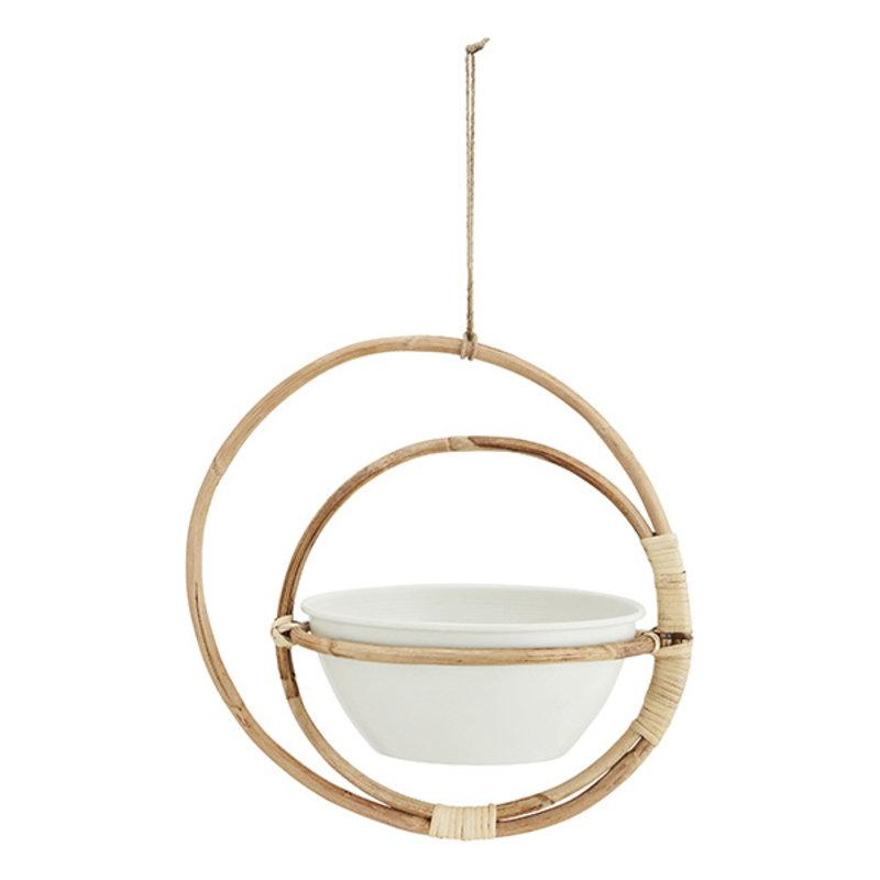 Madam Stoltz-collectie Hanging bamboo flower pot holder - Natural, off white