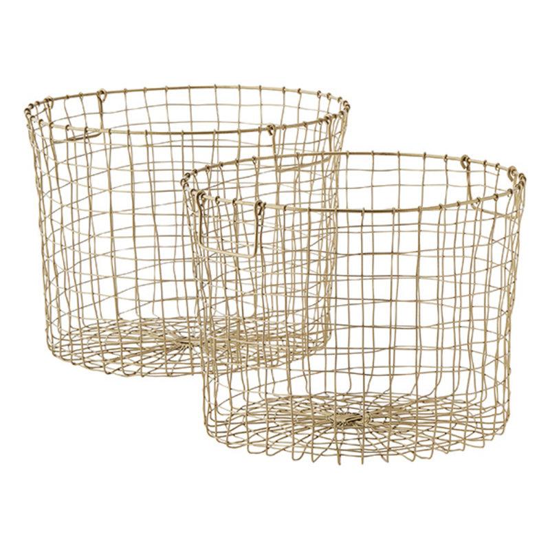 Madam Stoltz-collectie Iron baskets w/ handles - Ant.brass