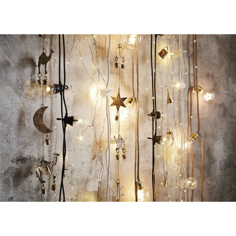 Madam Stoltz-collectie Indoor wire lights w/ jute - Natural, clear, gold