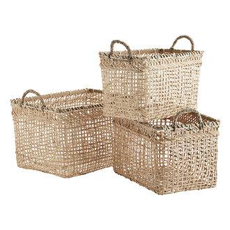 Madam Stoltz Rectangular bamboo baskets w/ handles - Natural