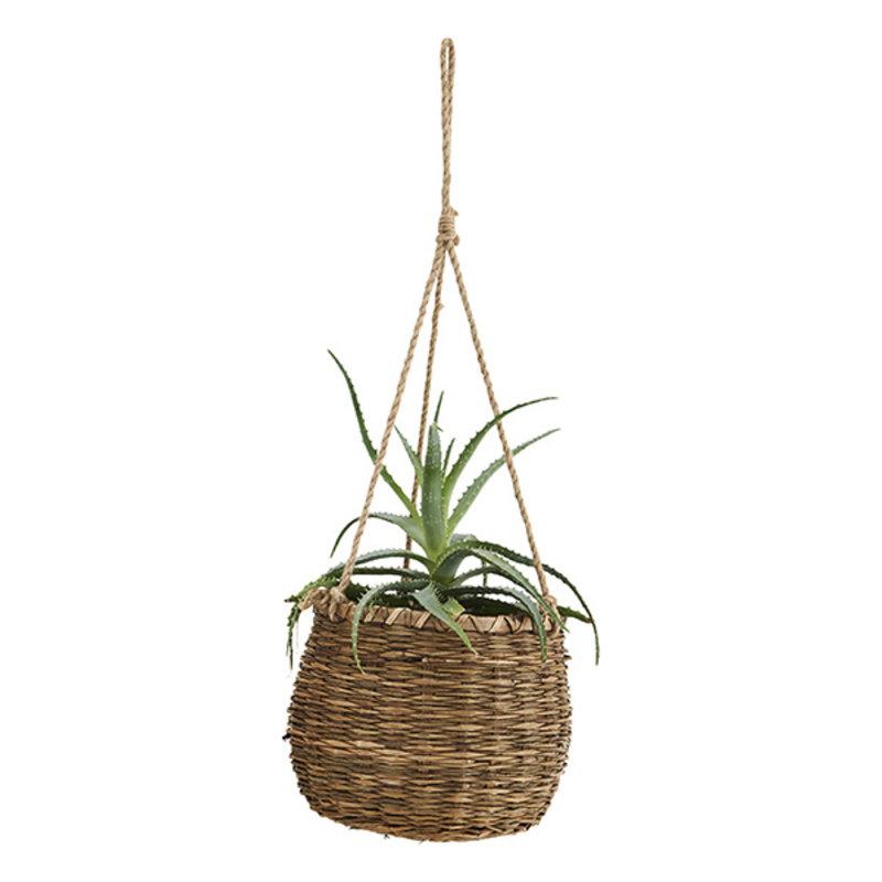 Madam Stoltz-collectie Hanging grass basket Brown, - Natural