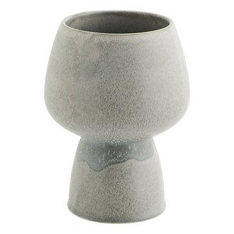 Madam Stoltz Keramieken bloempot grijs 21 cm