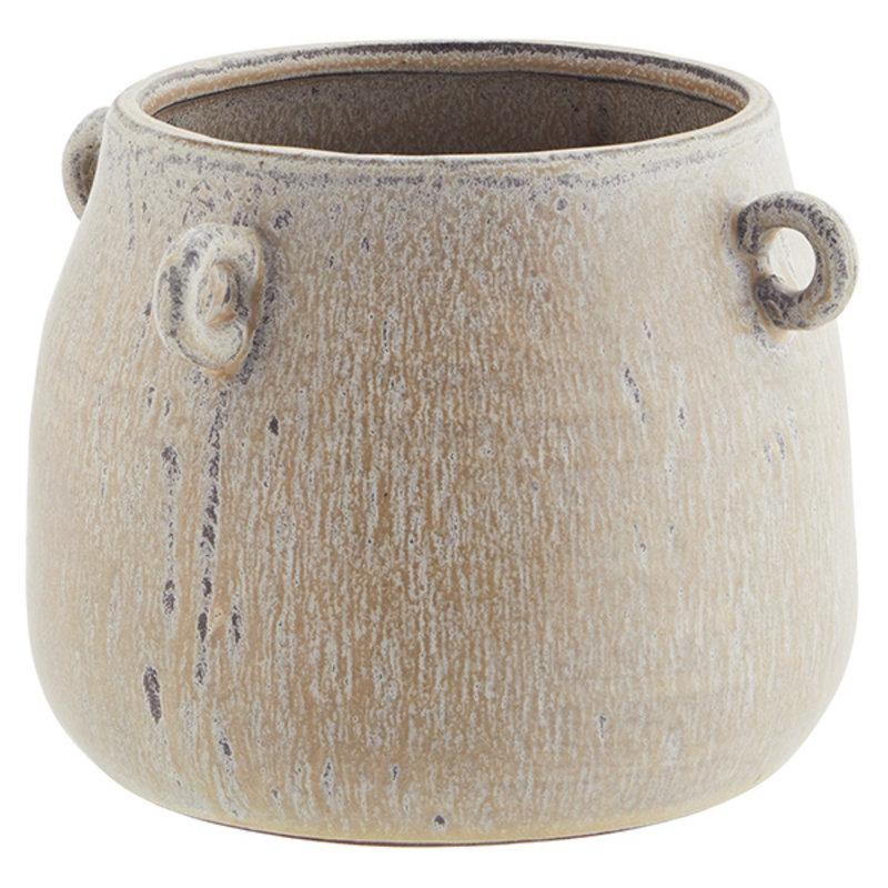 Madam Stoltz-collectie Stoneware flower pot w/ rings - Ivory, peach, grey