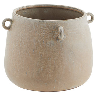 Madam Stoltz Stoneware flower pot w/ rings - Ivory, peach, grey