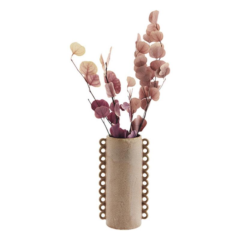 Madam Stoltz-collectie Stoneware vase w/ ruffles - Powder, rose