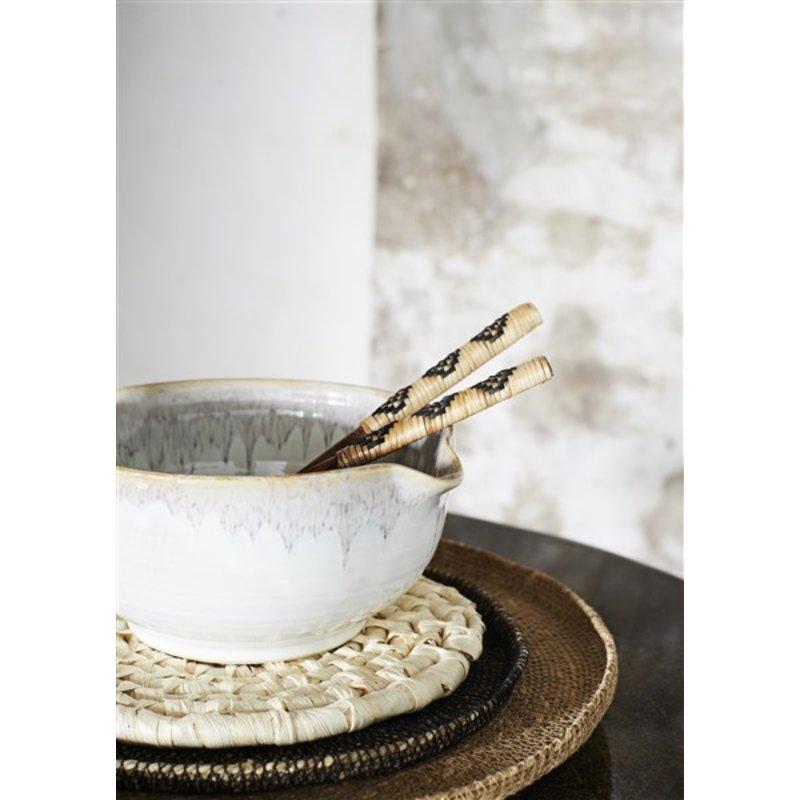 Madam Stoltz-collectie Stoneware bowls - Off white, sand, raspberry