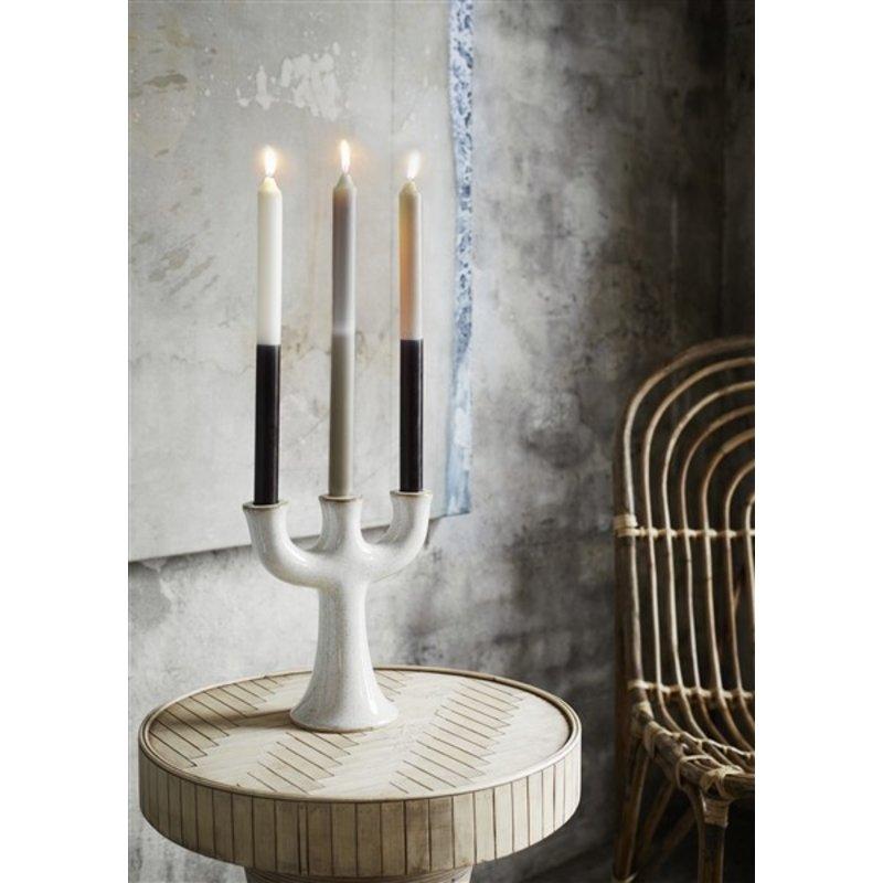 Madam Stoltz-collectie Stoneware candle holder - Off white