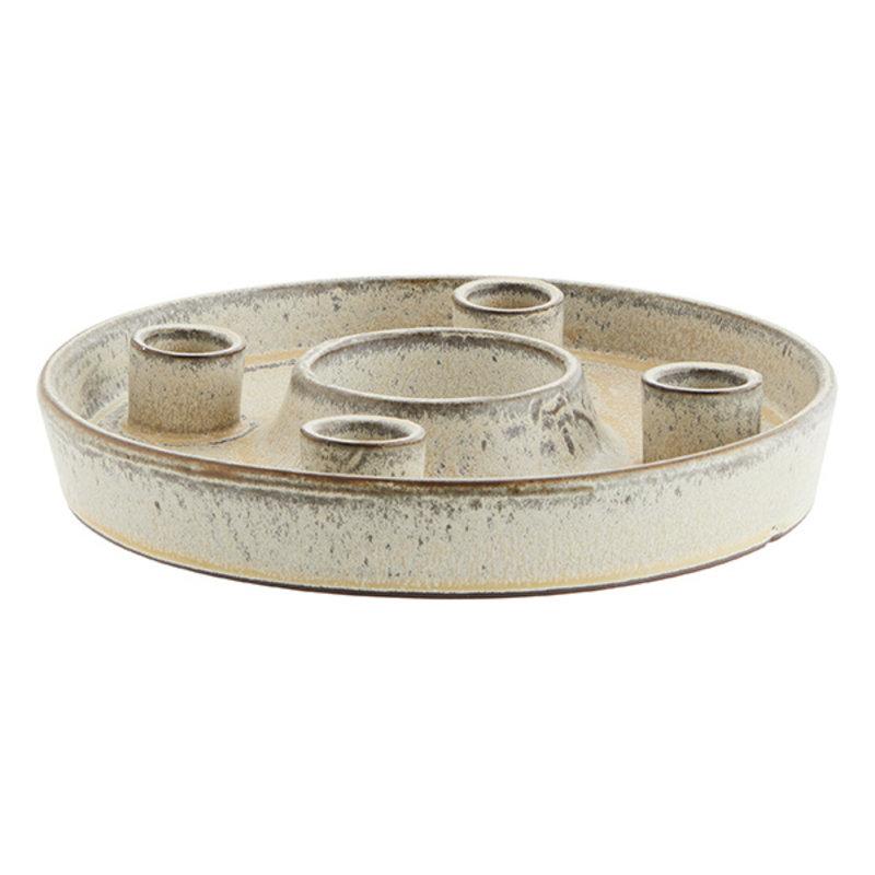 Madam Stoltz-collectie Round stoneware candle holder - Ivory, peach, grey