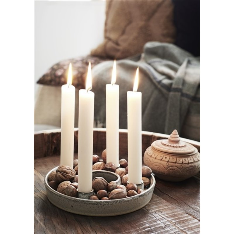 Madam Stoltz-collectie Ronde kandelaar offwhite voor 4 kaarsen