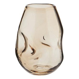 Madam Stoltz Glazen vaas amber 22,5 cm