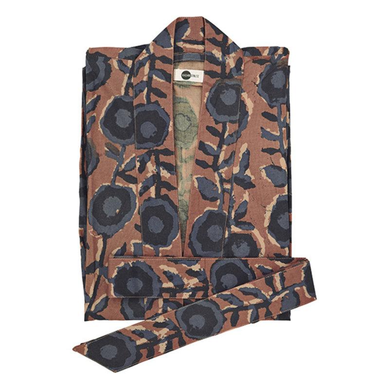 Madam Stoltz-collectie Printed cotton kimono w/ belt - Dusty rose, blue, marine, nude