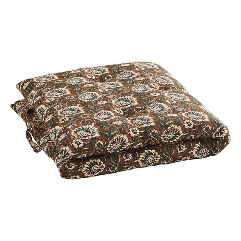 Madam Stoltz-collectie Printed cotton mattress - Cinnamon, burnt henna, green, off white, grey