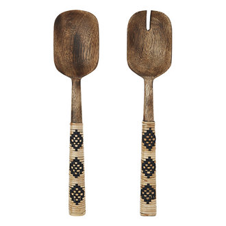 Madam Stoltz Houten slabestek met bamboe handgrepen