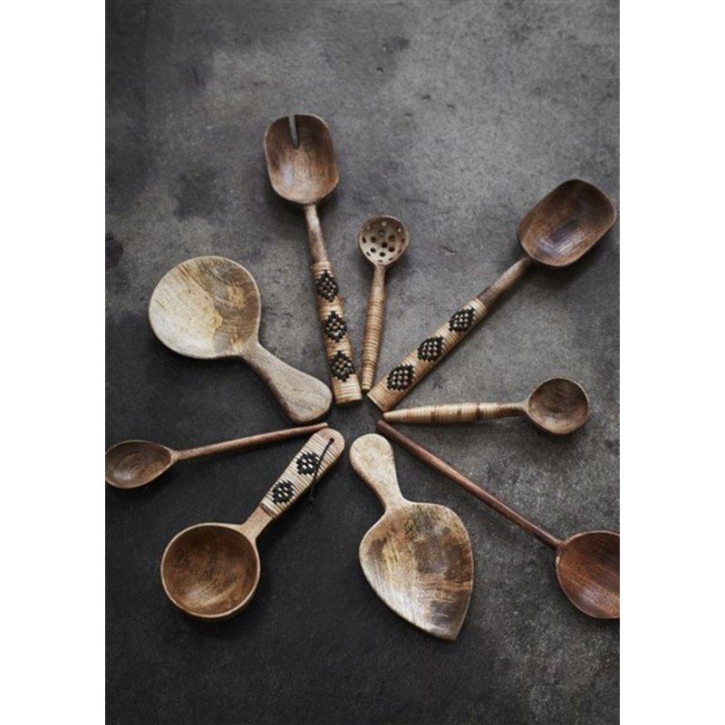 Madam Stoltz-collectie Wooden salad set w/ bamboo - Natural, black