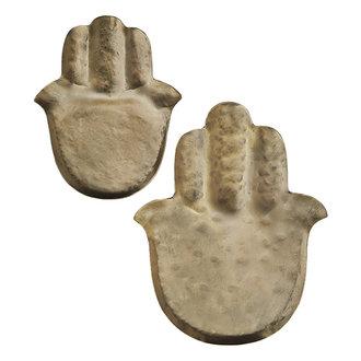 Madam Stoltz Schaaltjes Hamsa hand goud handgehamerd - set van 2