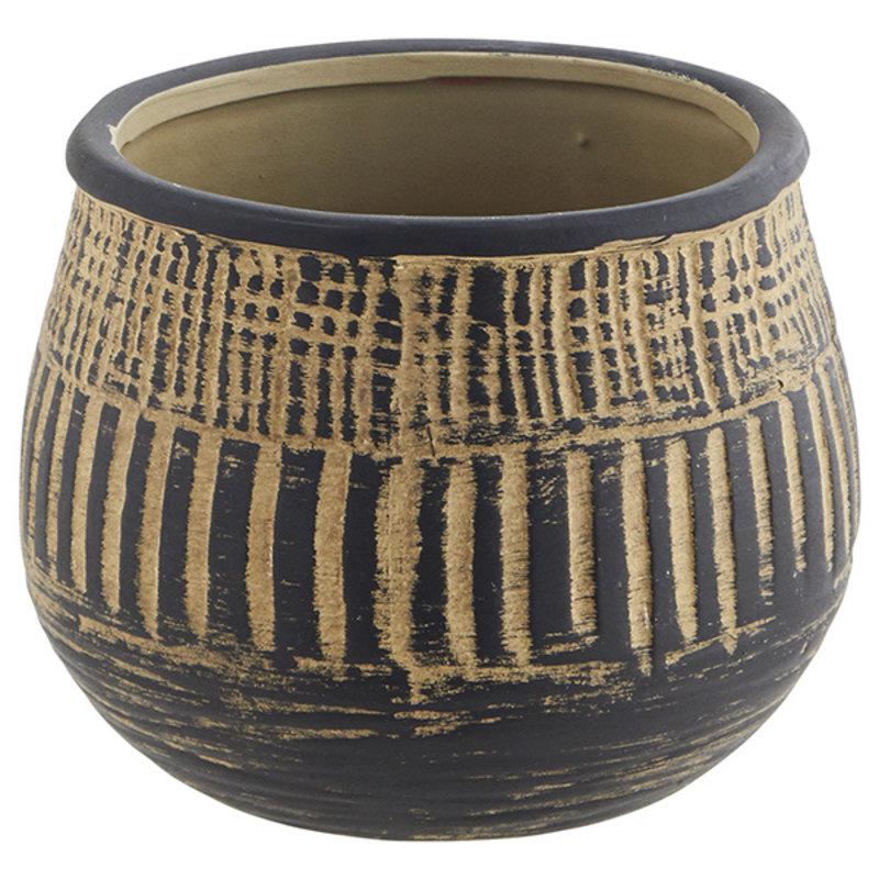 Madam Stoltz-collectie Terracotta flower pot - Washed black, Natural