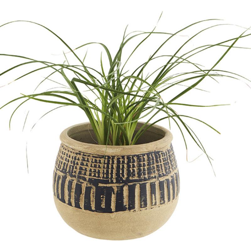 Madam Stoltz-collectie Terracotta flower pot - Natural, black