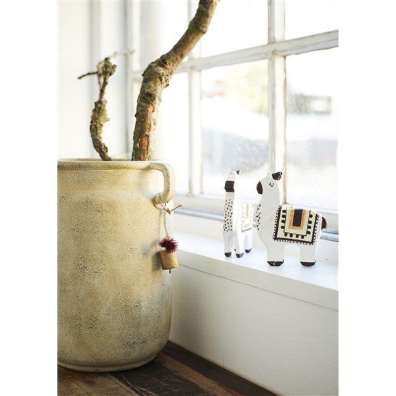 Madam Stoltz-collectie Terracotta vaas beige 28,5 cm