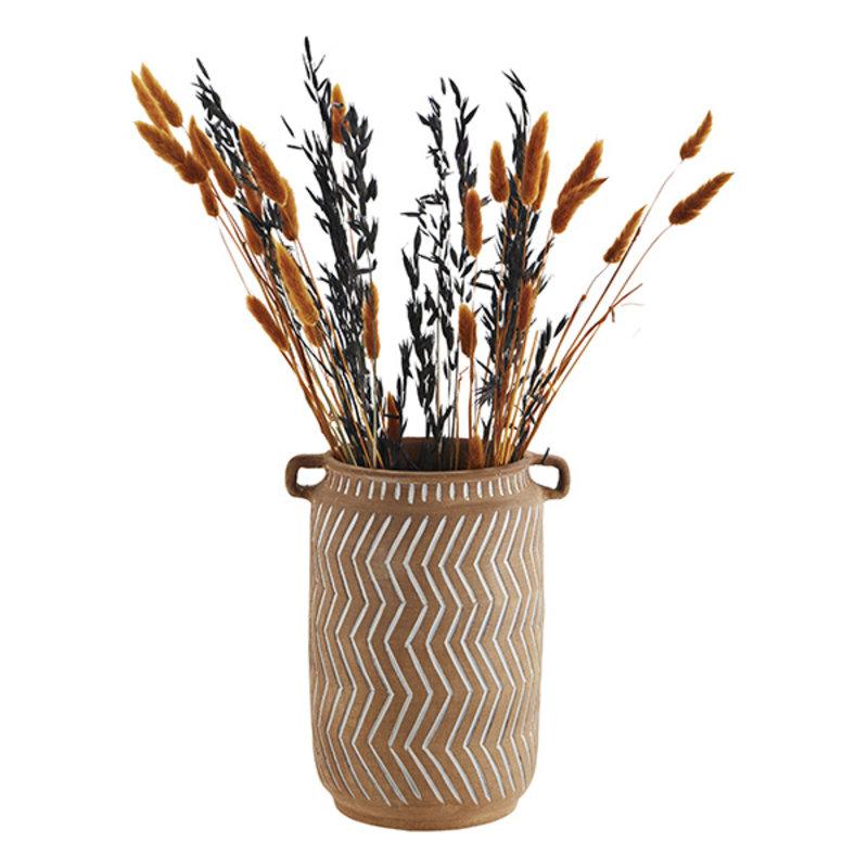 Madam Stoltz-collectie Terracotta vase w/ grooves - Terracotta, white