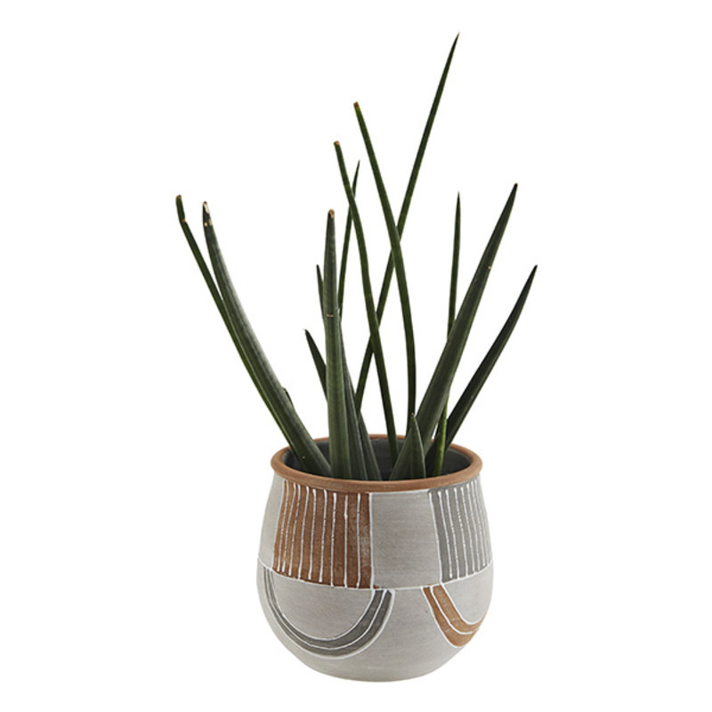 Madam Stoltz-collectie Terracotta flower pot - Grey, terracotta, white
