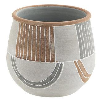 Madam Stoltz Terracotta flower pot - Grey, terracotta, white