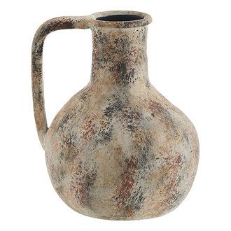 Madam Stoltz Terracotta vase - Washed beige, burnt henna, black