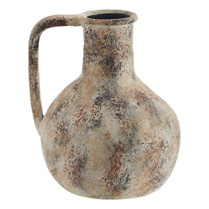 Madam Stoltz-collectie Terracotta vase - Washed beige, burnt henna, black