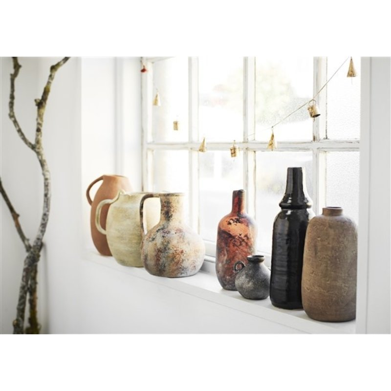 Madam Stoltz-collectie Terracotta vaas beige/burnt henna/zwart