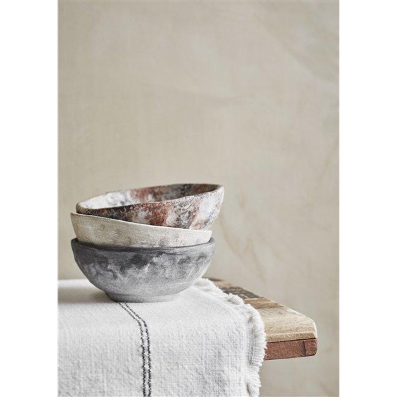 Madam Stoltz-collectie Terracotta bowl - Washed black, white