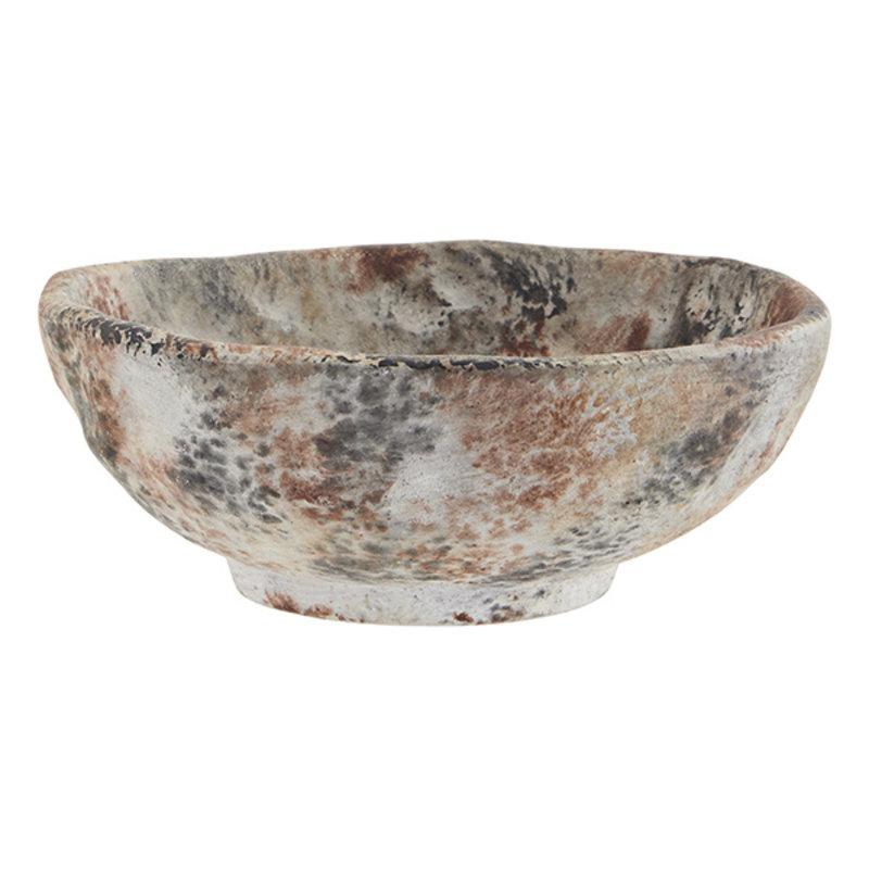 Madam Stoltz-collectie Terracotta bowl - Washed beige, burnt henna, black