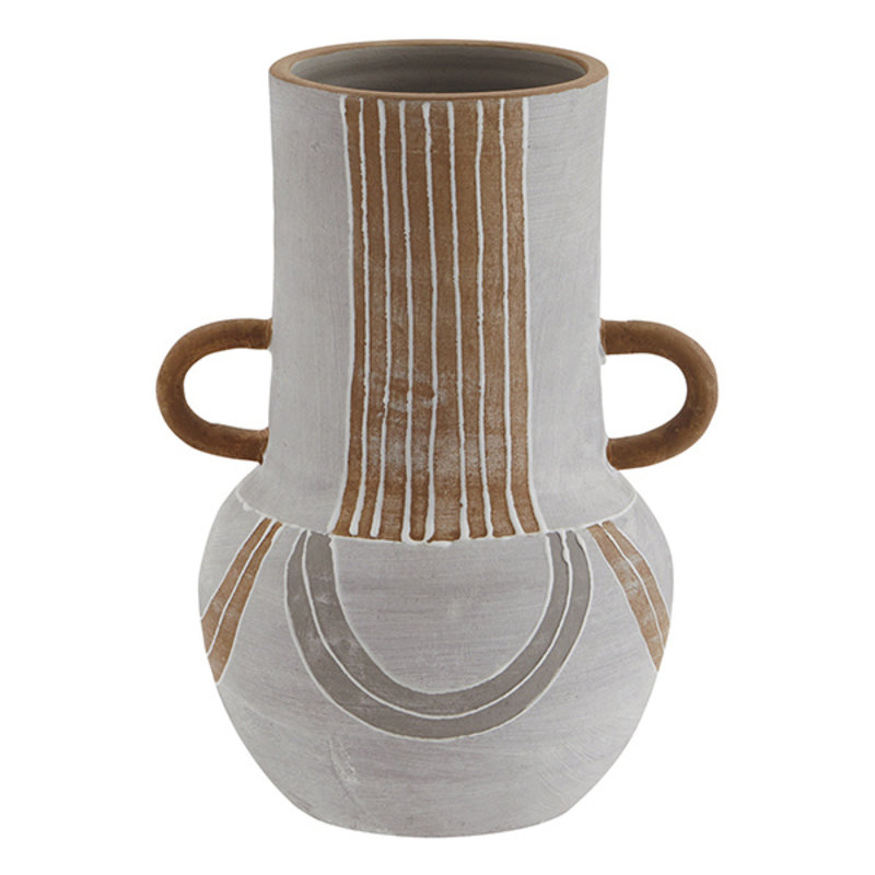 Madam Stoltz-collectie Terracotta vase - Grey, terracotta, white