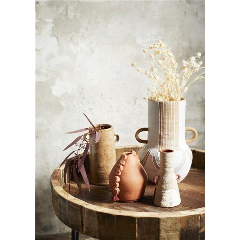 Madam Stoltz-collectie Terracotta vaas grijs/oranje/wit 26,5 cm