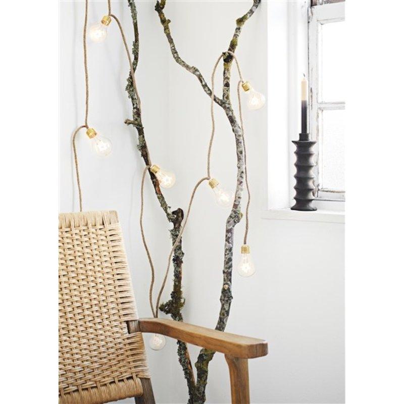 Madam Stoltz-collectie Two tone candle light ivory/black - set of 5