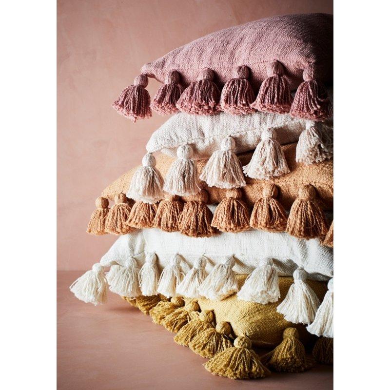 Madam Stoltz-collectie Kussenhoes met kwastjes offwhite