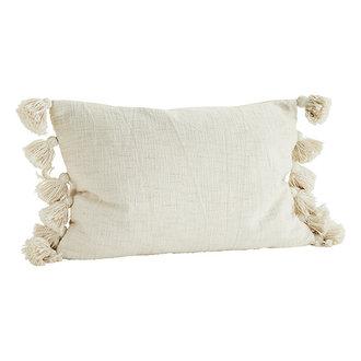 Madam Stoltz Cushion cover w/ tassels offwhite