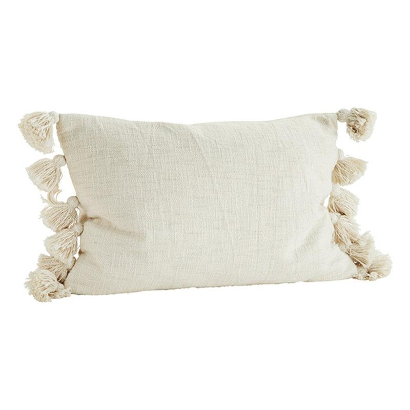 Madam Stoltz-collectie Cushion cover w/ tassels offwhite