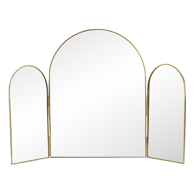 Nordal-collectie RUKIA table mirror, 3 parts, golden