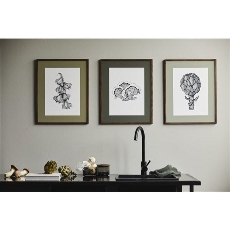 Nordal-collectie Illustratie ARTICHOKE met donker eiken frame