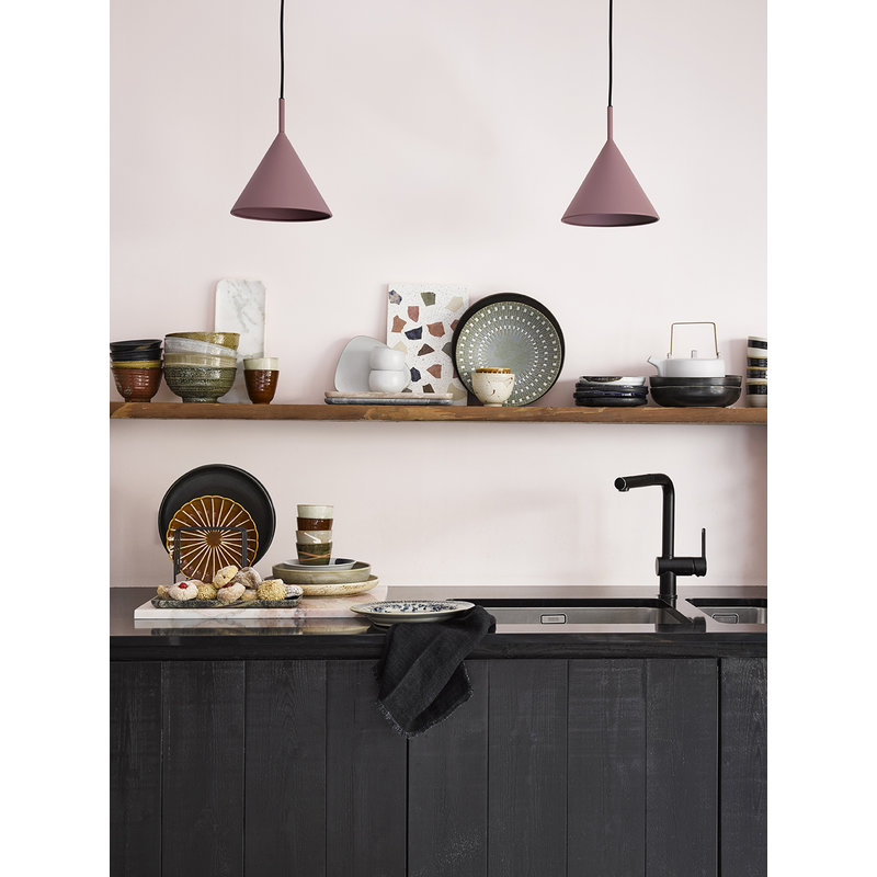 HKliving-collectie linnen napkin charcoal fringes set of 2 (45x45)