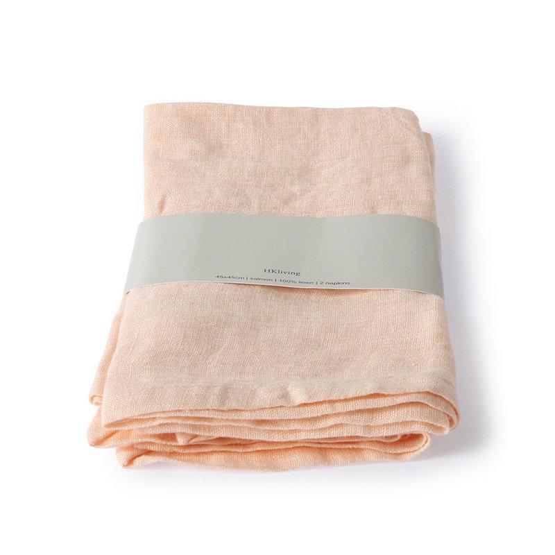 HKliving-collectie linnen napkin salmon set of 2 (45x45)