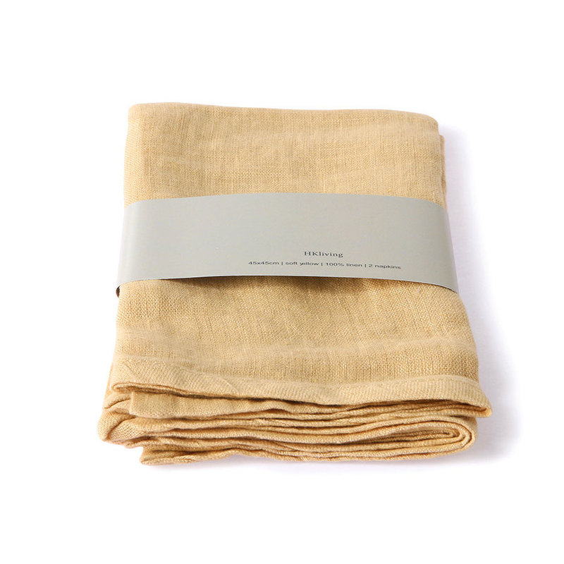 HKliving-collectie linnen napkin soft yellow set of 2 (45x45)