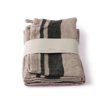 HKliving natural/striped linen napkin set of 2 (45x45)