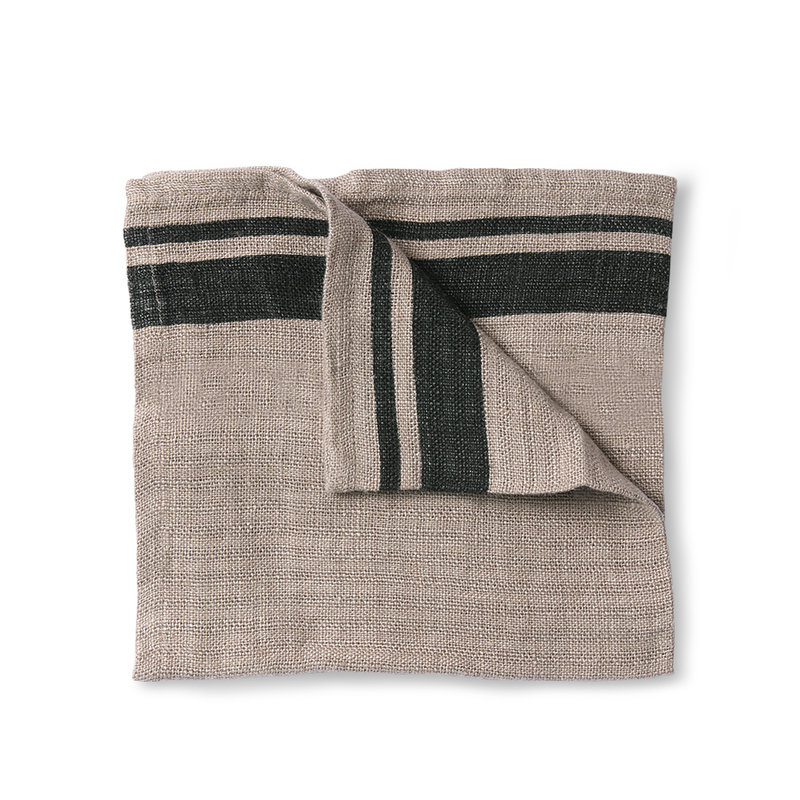 HKliving-collectie natural/striped linen napkin set of 2 (45x45)