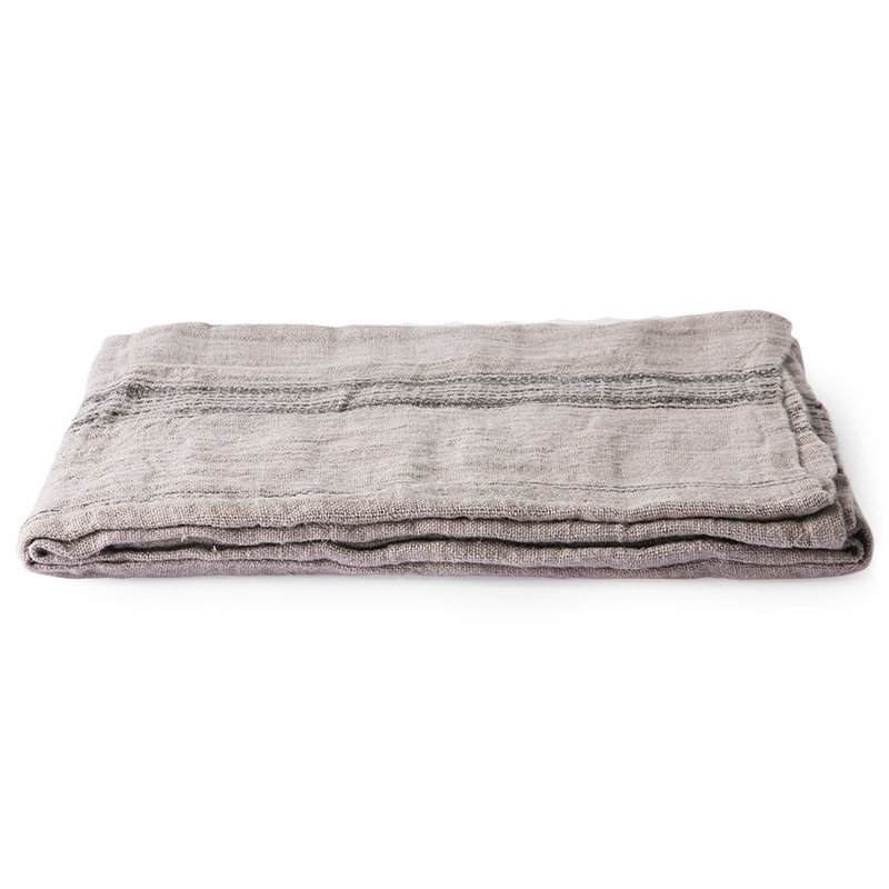 HKliving-collectie natural/striped linnen table cloth (140x220)