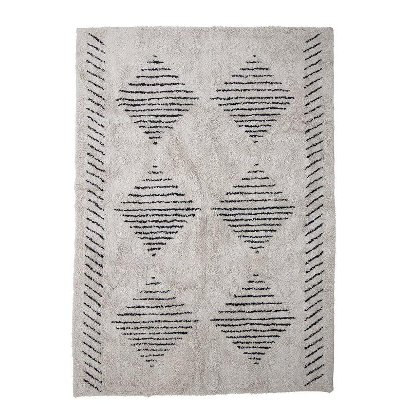 Bloomingville-collectie Vloerkleed Jegor naturel katoen met grafische print