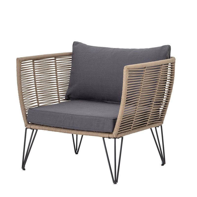 Bloomingville-collectie Lounge stoel  Mundo bruin metaal incl. kussen