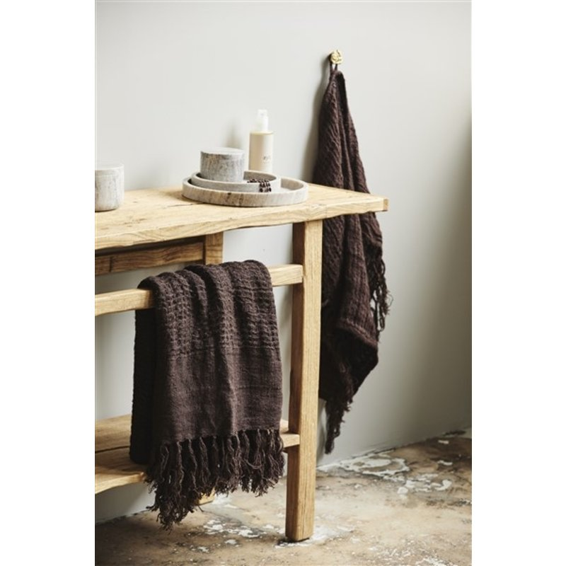 Nordal-collectie ARIES towel w/fringes, M, linen, brown
