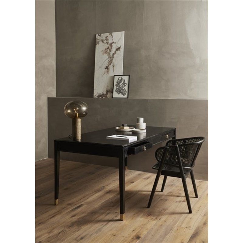 Nordal-collectie EMS desk w/2 drawers, black wood