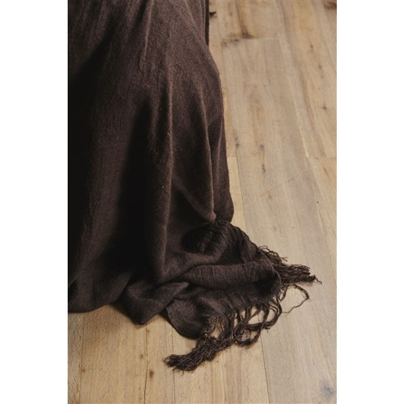 Nordal-collectie ALULA bed cover w/fringes, linen, brown